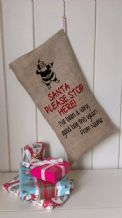 Personalized Santa Stop Here Father Christmas Xmas Santa Sack / Stocking Bag Jute Hessian